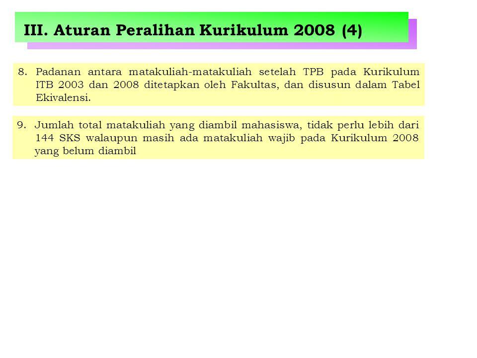 III. Aturan Peralihan Kurikulum 2008 (4) 8.Padanan antara matakuliah-matakuliah setelah TPB pada Kurikulum ITB 2003 dan 2008 ditetapkan oleh Fakultas,