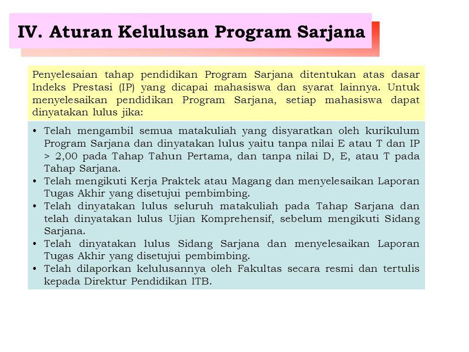 IV. Aturan Kelulusan Program Sarjana Penyelesaian tahap pendidikan Program Sarjana ditentukan atas dasar Indeks Prestasi (IP) yang dicapai mahasiswa d