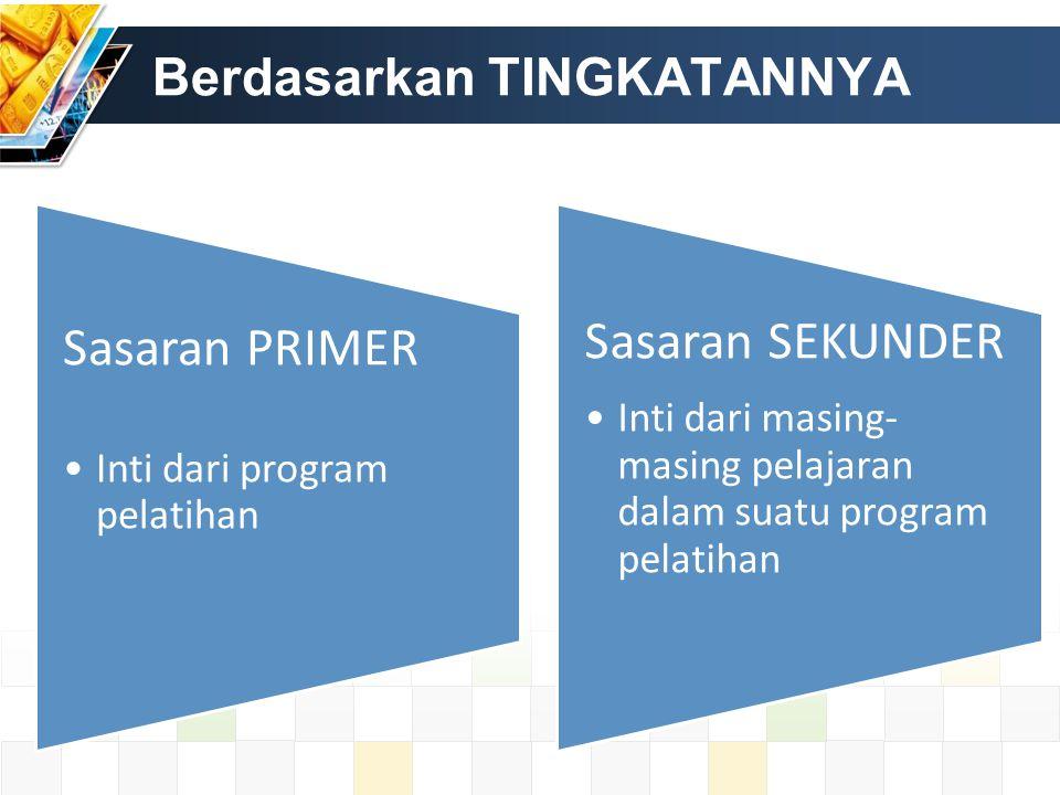 Berdasarkan TINGKATANNYA Sasaran PRIMER Inti dari program pelatihan Sasaran SEKUNDER Inti dari masing- masing pelajaran dalam suatu program pelatihan
