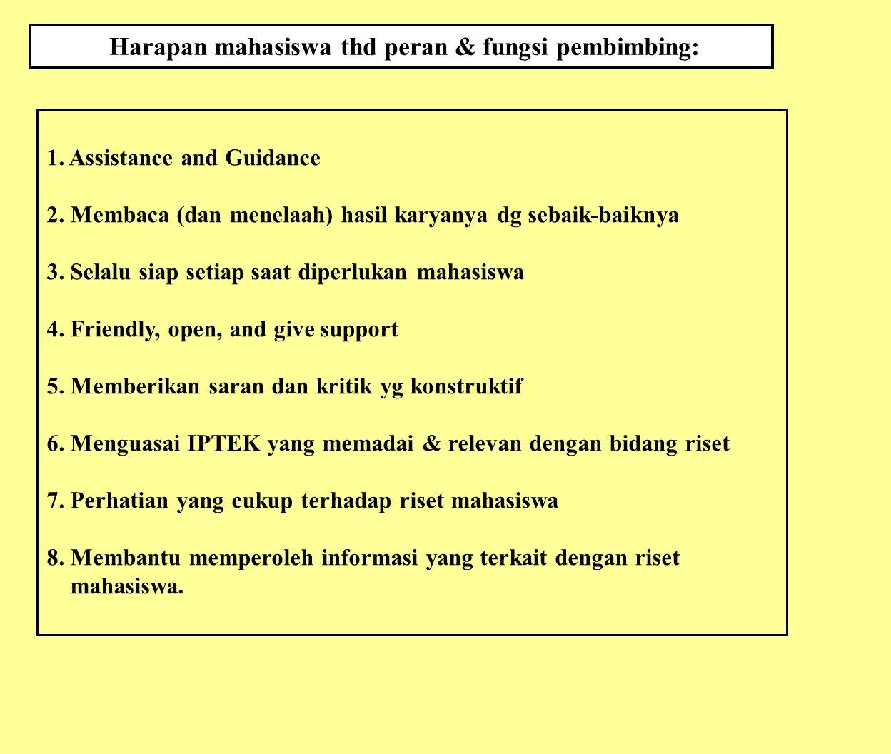 Harapan mahasiswa thd peran & fungsi pembimbing: 1. Assistance and Guidance 2. Membaca (dan menelaah) hasil karyanya dg sebaik-baiknya 3. Selalu siap