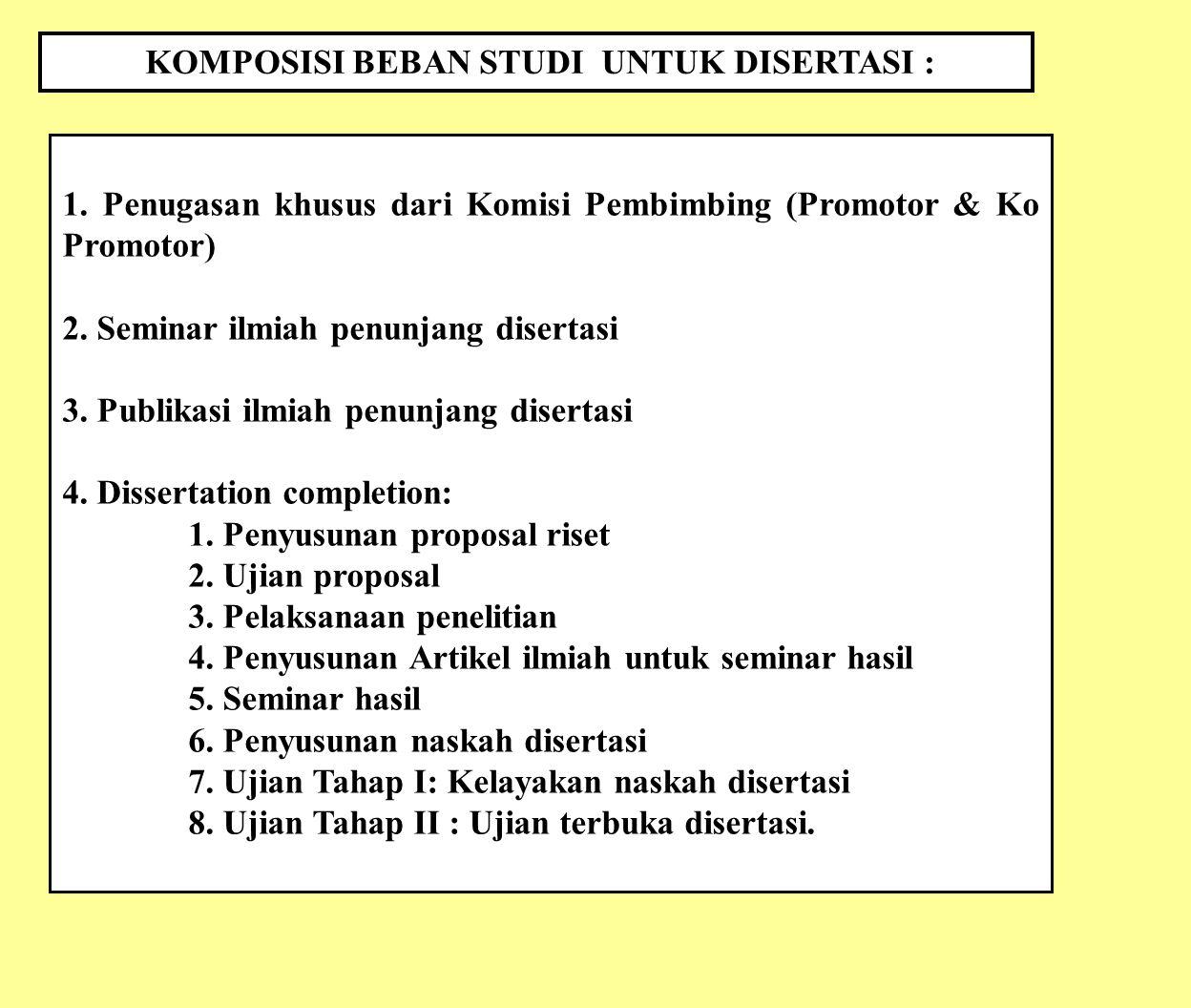 KOMPOSISI BEBAN STUDI UNTUK DISERTASI : 1. Penugasan khusus dari Komisi Pembimbing (Promotor & Ko Promotor) 2. Seminar ilmiah penunjang disertasi 3. P