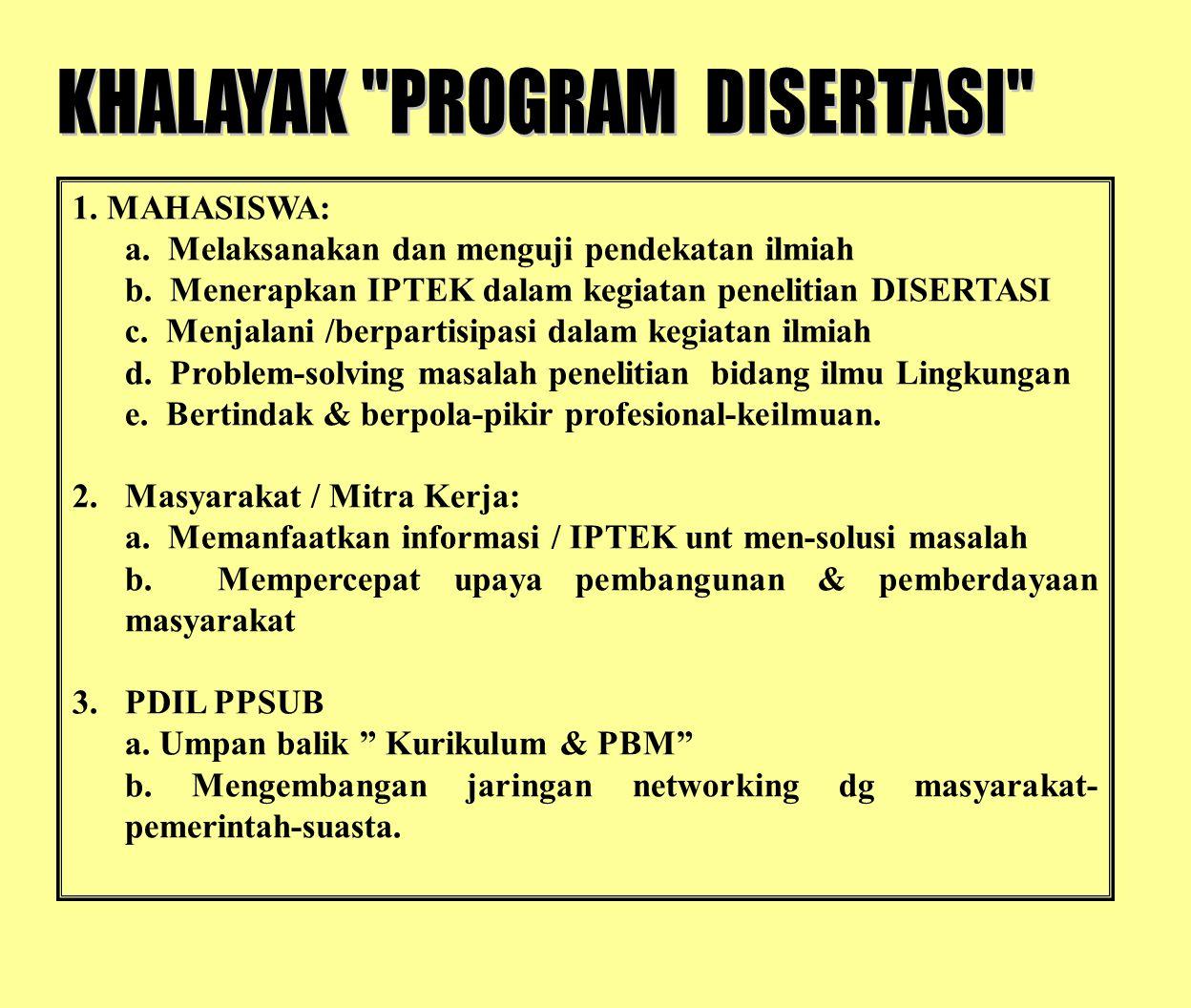 1. MAHASISWA: a. Melaksanakan dan menguji pendekatan ilmiah b. Menerapkan IPTEK dalam kegiatan penelitian DISERTASI c. Menjalani /berpartisipasi dalam