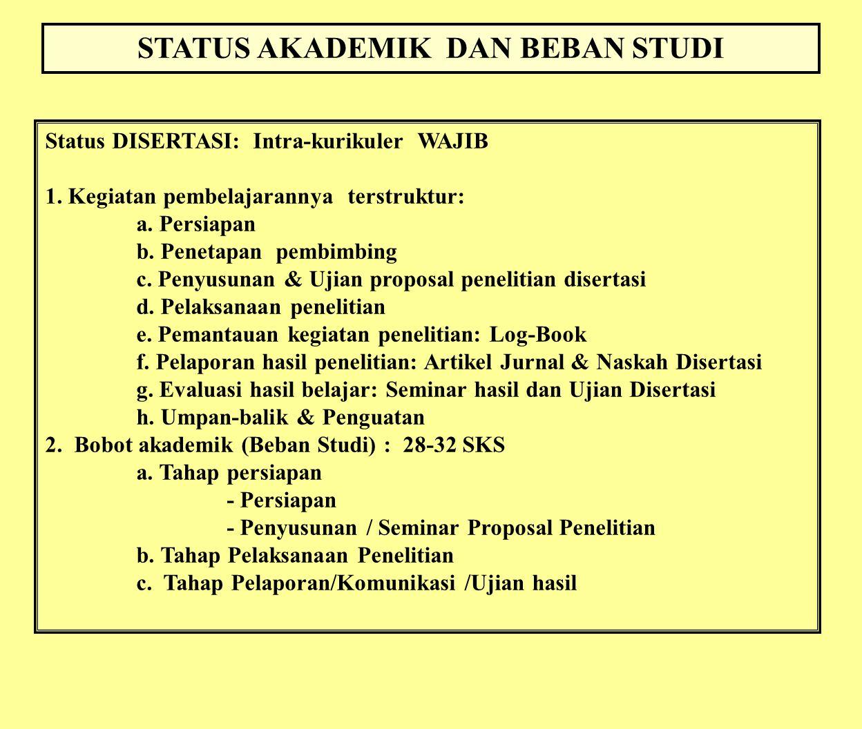 STATUS AKADEMIK DAN BEBAN STUDI Status DISERTASI: Intra-kurikuler WAJIB 1. Kegiatan pembelajarannya terstruktur: a. Persiapan b. Penetapan pembimbing