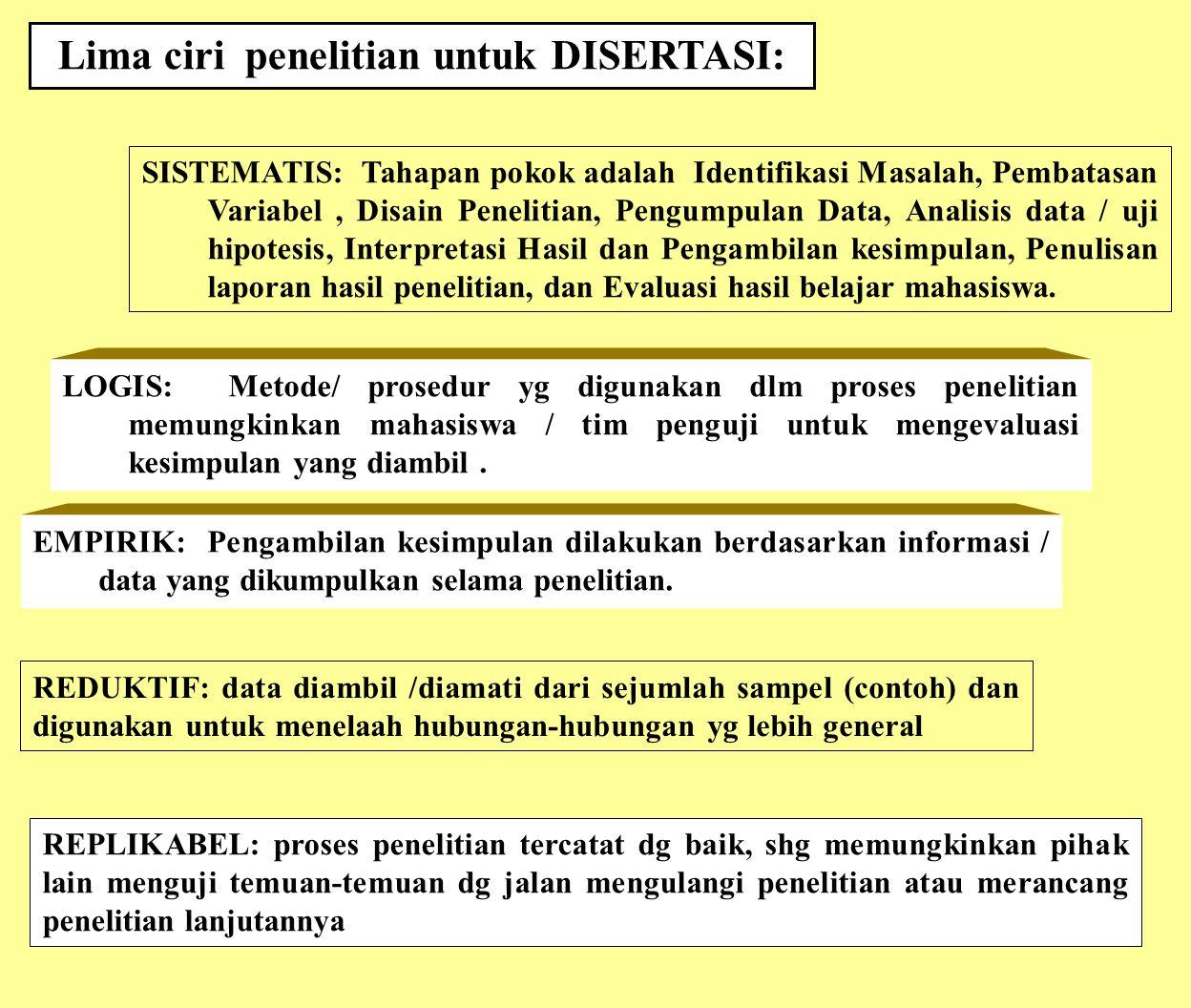 SISTEMATIS: Tahapan pokok adalah Identifikasi Masalah, Pembatasan Variabel, Disain Penelitian, Pengumpulan Data, Analisis data / uji hipotesis, Interp