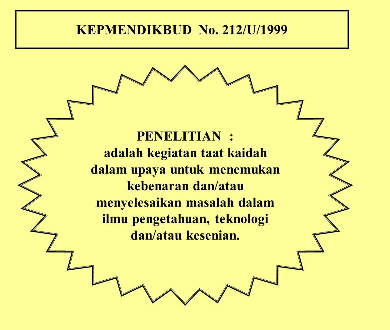 KEPMENDIKBUD No. 212/U/1999 PENELITIAN : adalah kegiatan taat kaidah dalam upaya untuk menemukan kebenaran dan/atau menyelesaikan masalah dalam ilmu p