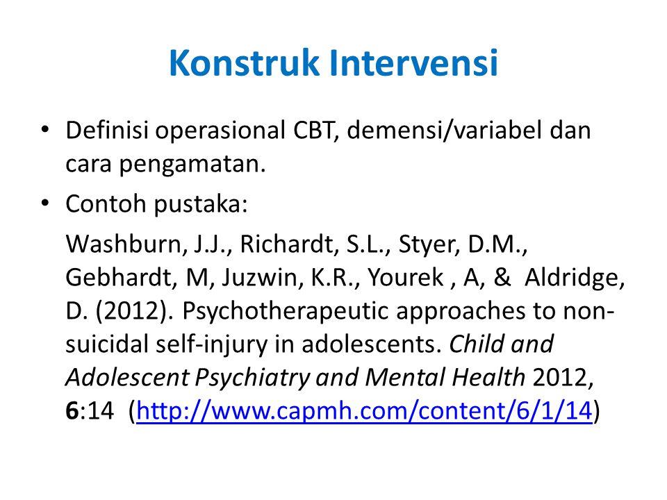 Konstruk Intervensi Definisi operasional CBT, demensi/variabel dan cara pengamatan.
