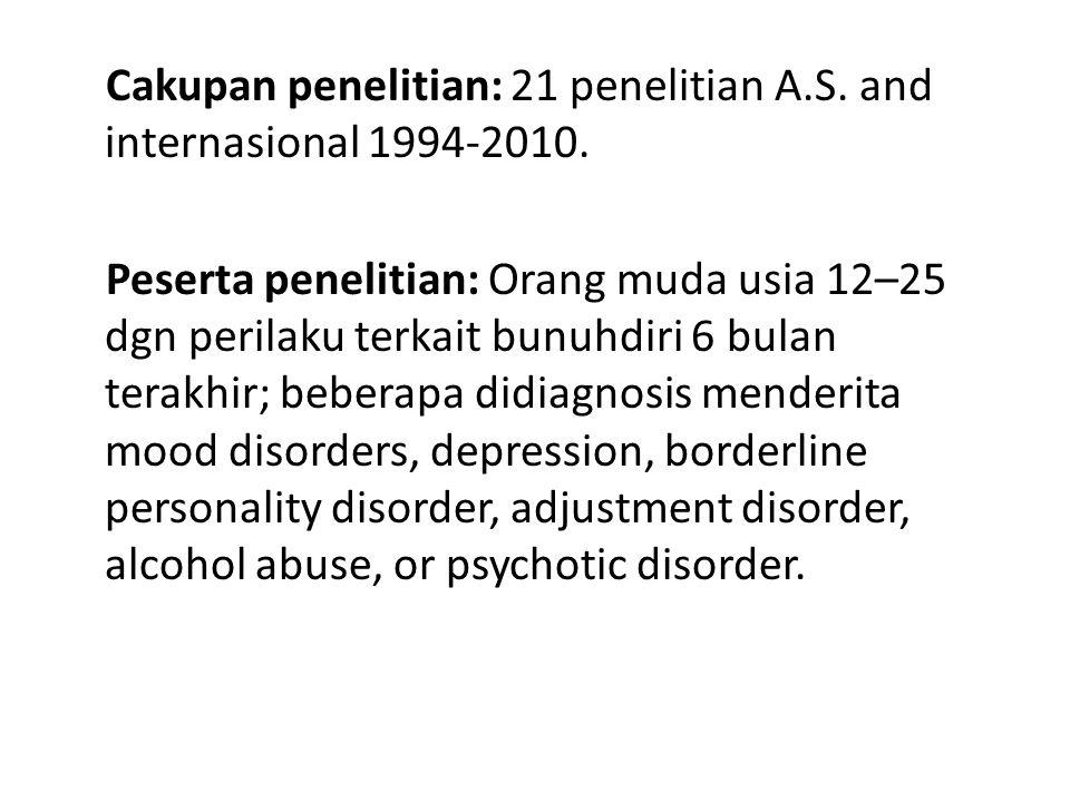 Cakupan penelitian: 21 penelitian A.S. and internasional 1994-2010.