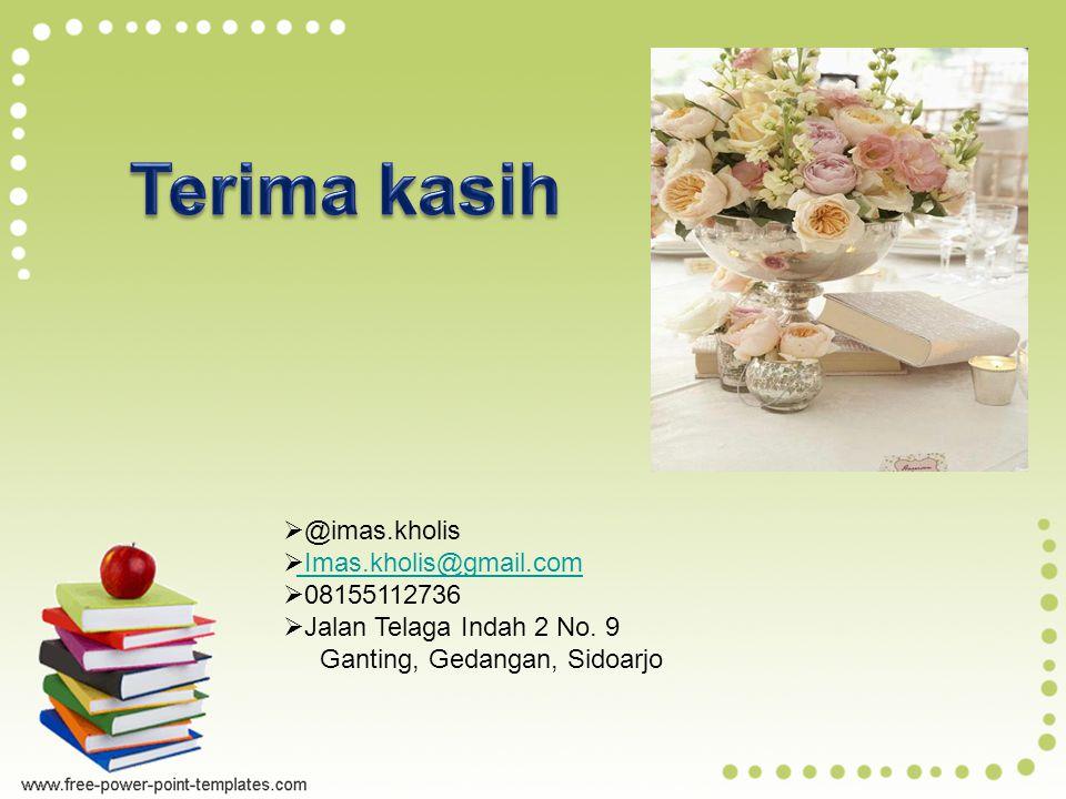 @imas.kholis  Imas.kholis@gmail.com Imas.kholis@gmail.com  08155112736  Jalan Telaga Indah 2 No.
