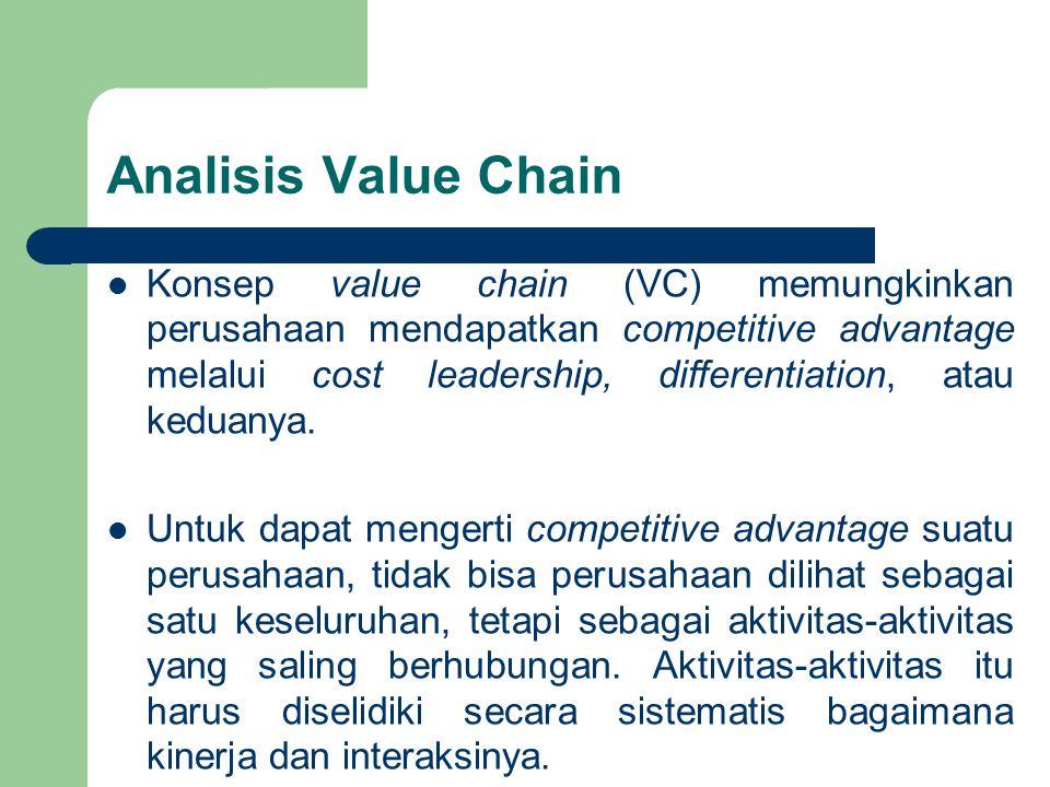 Analisis Value Chain Konsep value chain (VC) memungkinkan perusahaan mendapatkan competitive advantage melalui cost leadership, differentiation, atau