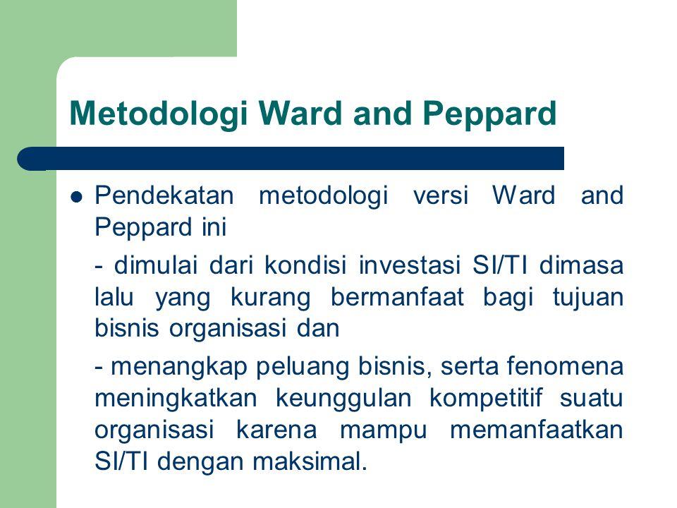 Metodologi Ward and Peppard Pendekatan metodologi versi Ward and Peppard ini - dimulai dari kondisi investasi SI/TI dimasa lalu yang kurang bermanfaat