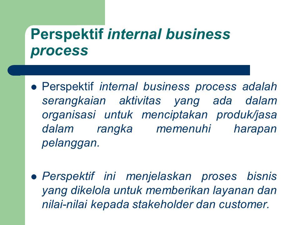 Perspektif internal business process Perspektif internal business process adalah serangkaian aktivitas yang ada dalam organisasi untuk menciptakan pro