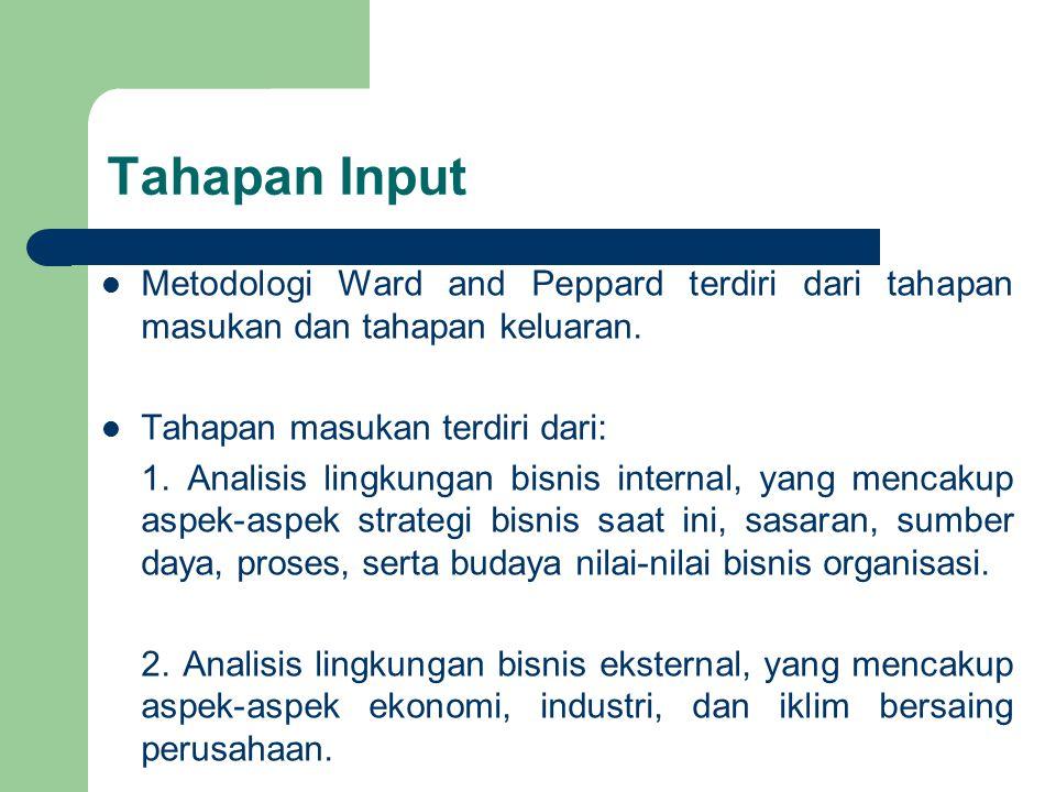 Tahapan Input Metodologi Ward and Peppard terdiri dari tahapan masukan dan tahapan keluaran. Tahapan masukan terdiri dari: 1. Analisis lingkungan bisn