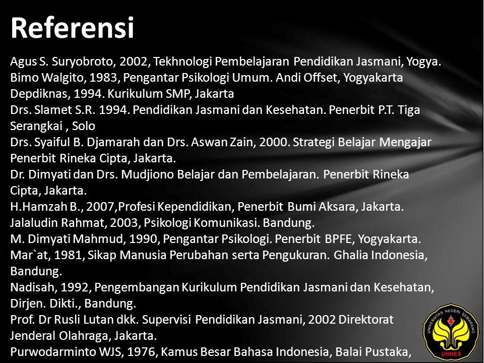 Referensi Agus S. Suryobroto, 2002, Tekhnologi Pembelajaran Pendidikan Jasmani, Yogya.