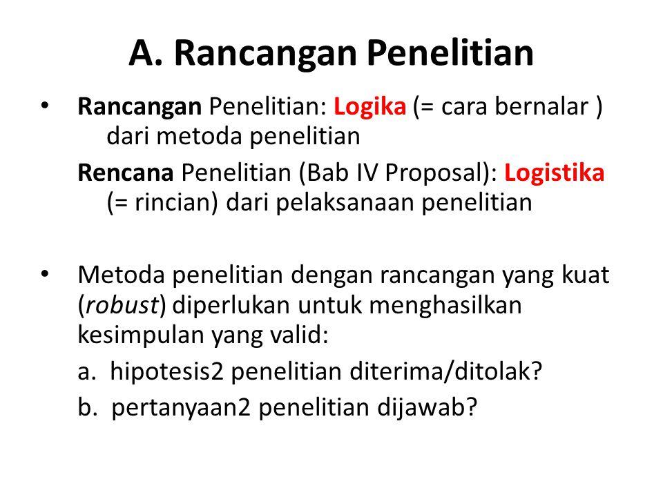 A. Rancangan Penelitian Rancangan Penelitian: Logika (= cara bernalar ) dari metoda penelitian Rencana Penelitian (Bab IV Proposal): Logistika (= rinc