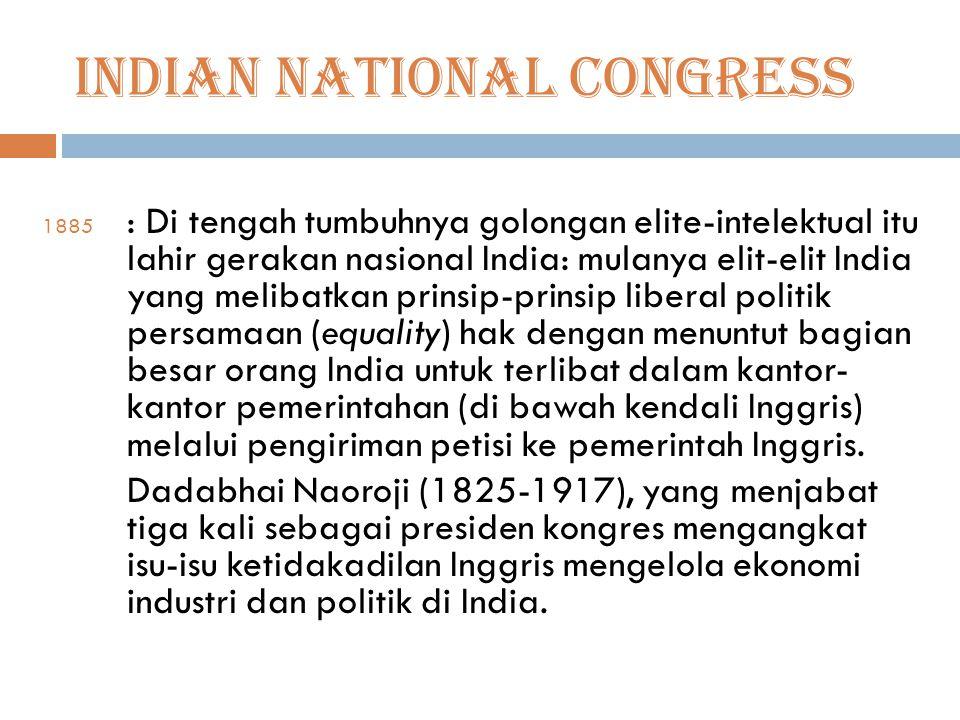  1861 (Indian Councils Act): orang-orang India diizinkan –melalui penunjukkan – untuk terlibat dalam Executive Council ; namun hal ini tidak berarti