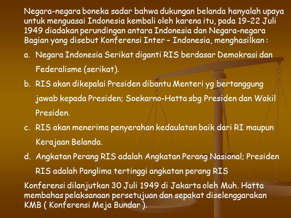 Negara-negara boneka sadar bahwa dukungan belanda hanyalah upaya untuk menguasai Indonesia kembali oleh karena itu, pada 19-22 Juli 1949 diadakan perundingan antara Indonesia dan Negara-negara Bagian yang disebut Konferensi Inter – Indonesia, menghasilkan : a.Negara Indonesia Serikat diganti RIS berdasar Demokrasi dan Federalisme (serikat).