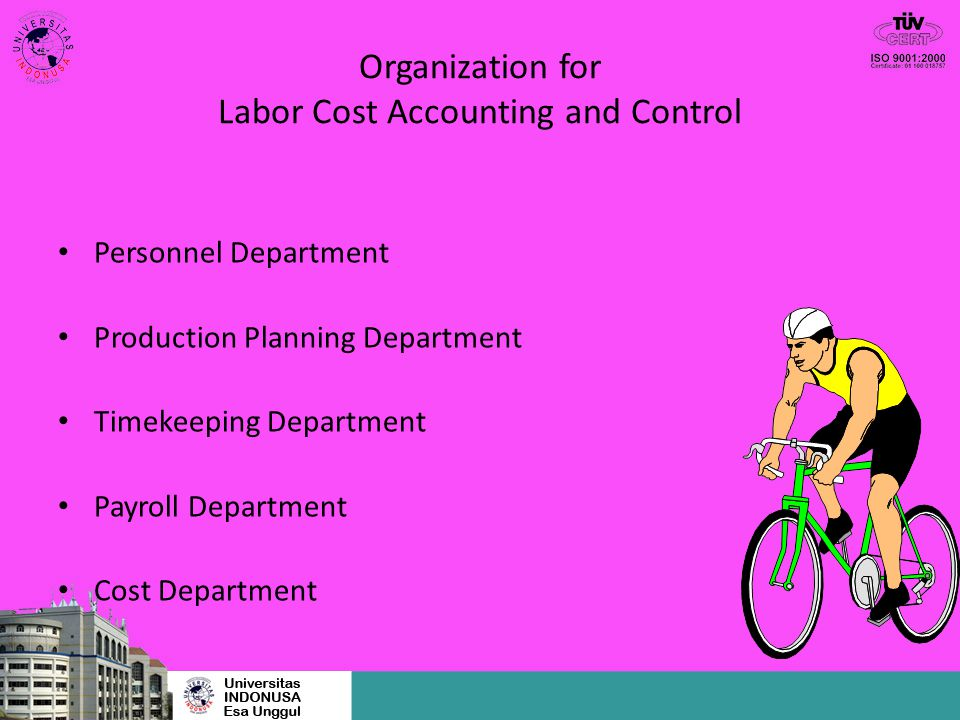 Organization for Labor Cost Accounting and Control Personnel Department Production Planning Department Timekeeping Department Payroll Department Cost