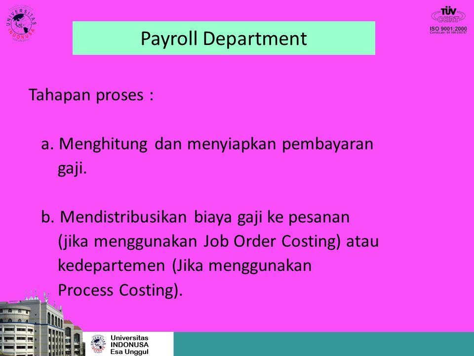 Payroll Department Tahapan proses : a. Menghitung dan menyiapkan pembayaran gaji. b. Mendistribusikan biaya gaji ke pesanan (jika menggunakan Job Orde
