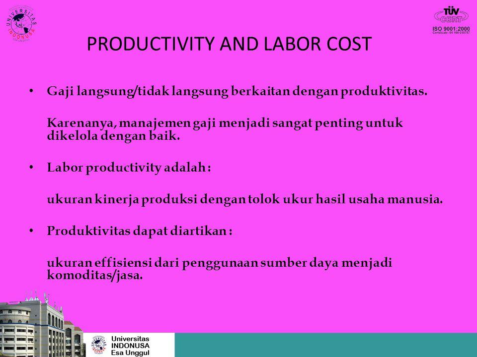PRODUCTIVITY AND LABOR COST Gaji langsung/tidak langsung berkaitan dengan produktivitas. Karenanya, manajemen gaji menjadi sangat penting untuk dikelo