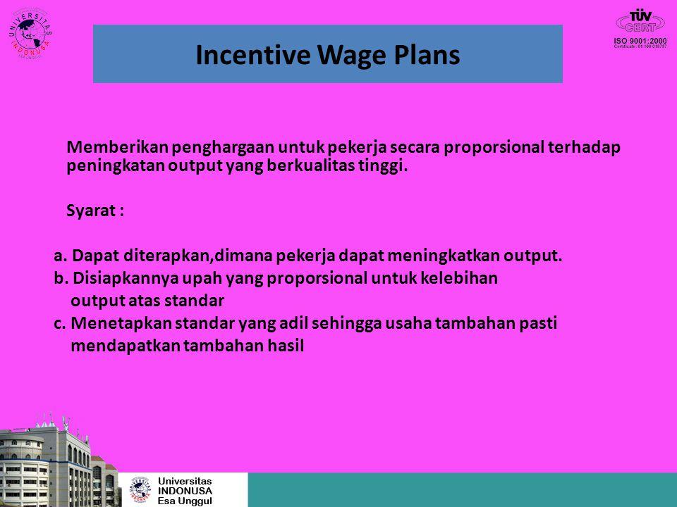 Incentive Wage Plans Memberikan penghargaan untuk pekerja secara proporsional terhadap peningkatan output yang berkualitas tinggi. Syarat : a. Dapat d