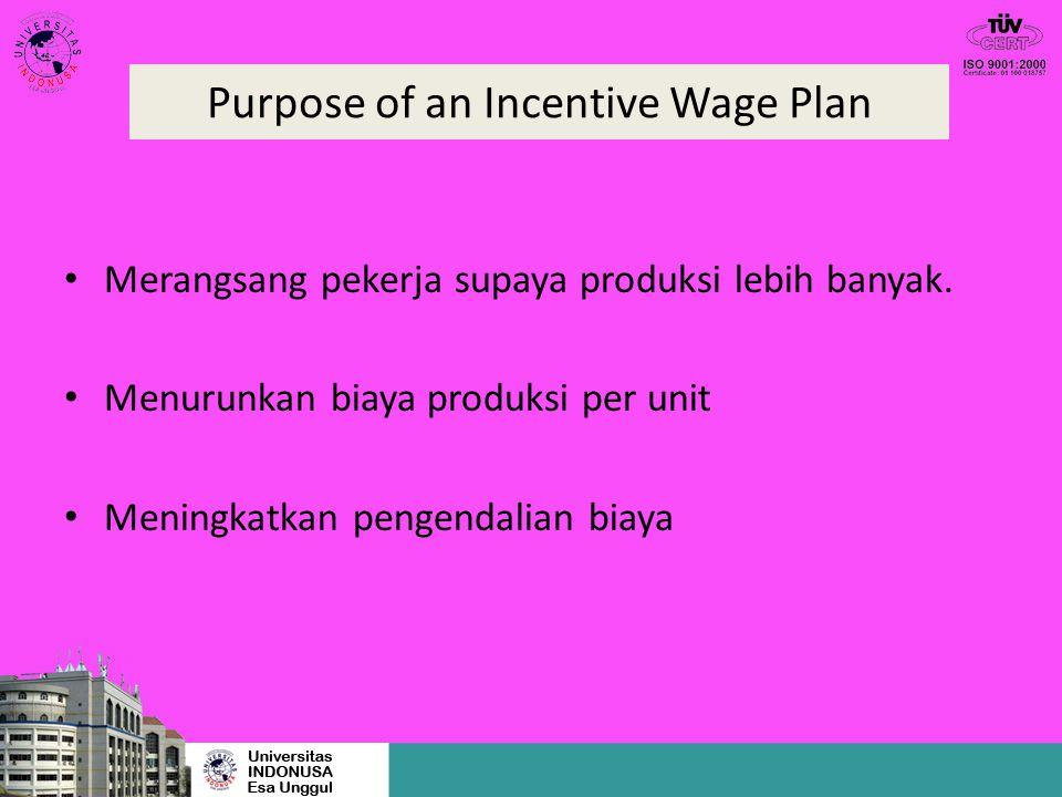 Purpose of an Incentive Wage Plan Merangsang pekerja supaya produksi lebih banyak. Menurunkan biaya produksi per unit Meningkatkan pengendalian biaya