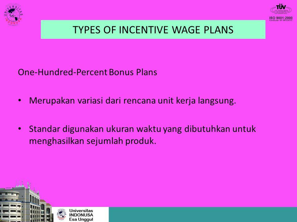 TYPES OF INCENTIVE WAGE PLANS One-Hundred-Percent Bonus Plans Merupakan variasi dari rencana unit kerja langsung. Standar digunakan ukuran waktu yang