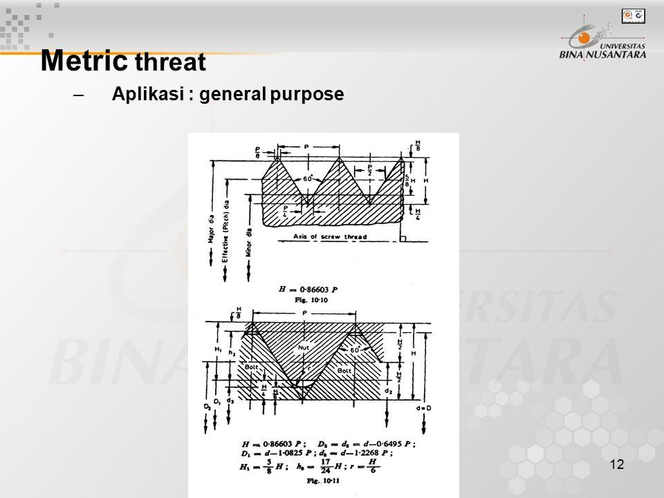 12 Metric threat –Aplikasi : general purpose