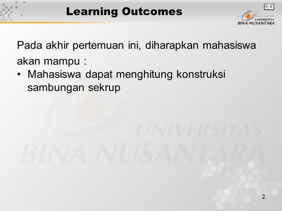 2 Learning Outcomes Pada akhir pertemuan ini, diharapkan mahasiswa akan mampu : Mahasiswa dapat menghitung konstruksi sambungan sekrup