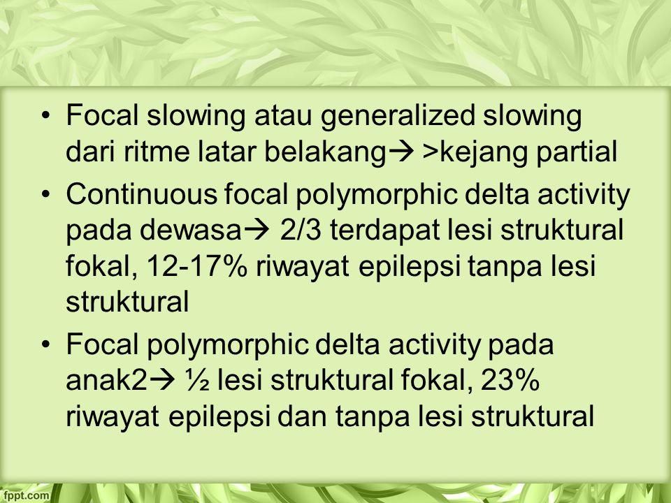 Focal slowing atau generalized slowing dari ritme latar belakang  >kejang partial Continuous focal polymorphic delta activity pada dewasa  2/3 terdapat lesi struktural fokal, 12-17% riwayat epilepsi tanpa lesi struktural Focal polymorphic delta activity pada anak2  ½ lesi struktural fokal, 23% riwayat epilepsi dan tanpa lesi struktural