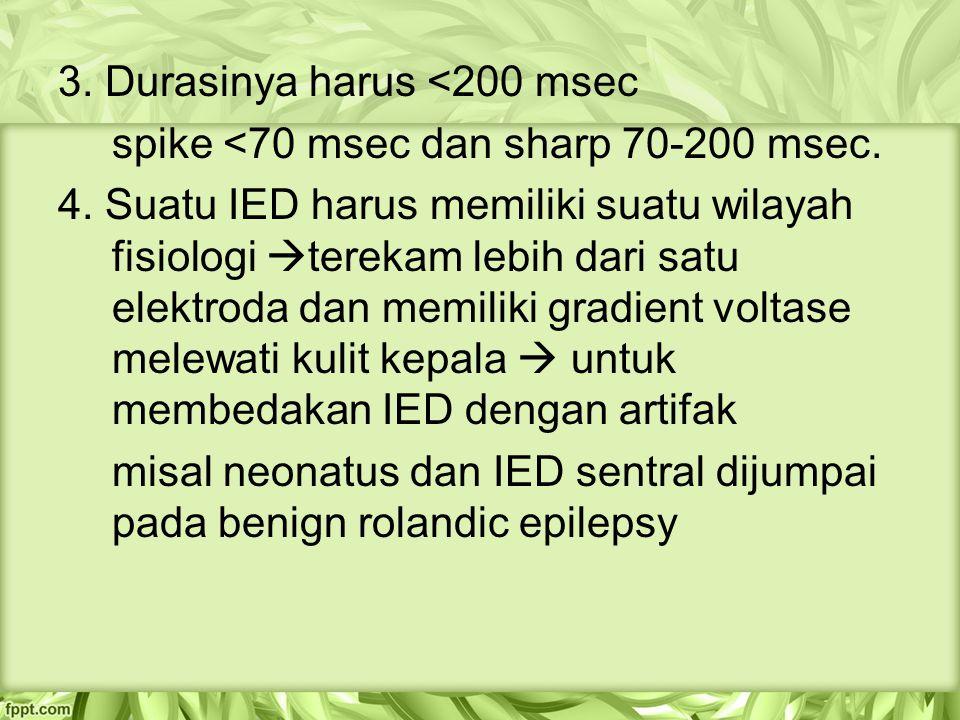 3.Durasinya harus <200 msec spike <70 msec dan sharp 70-200 msec.
