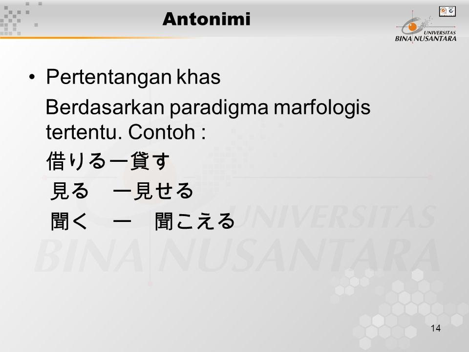 14 Antonimi Pertentangan khas Berdasarkan paradigma marfologis tertentu.