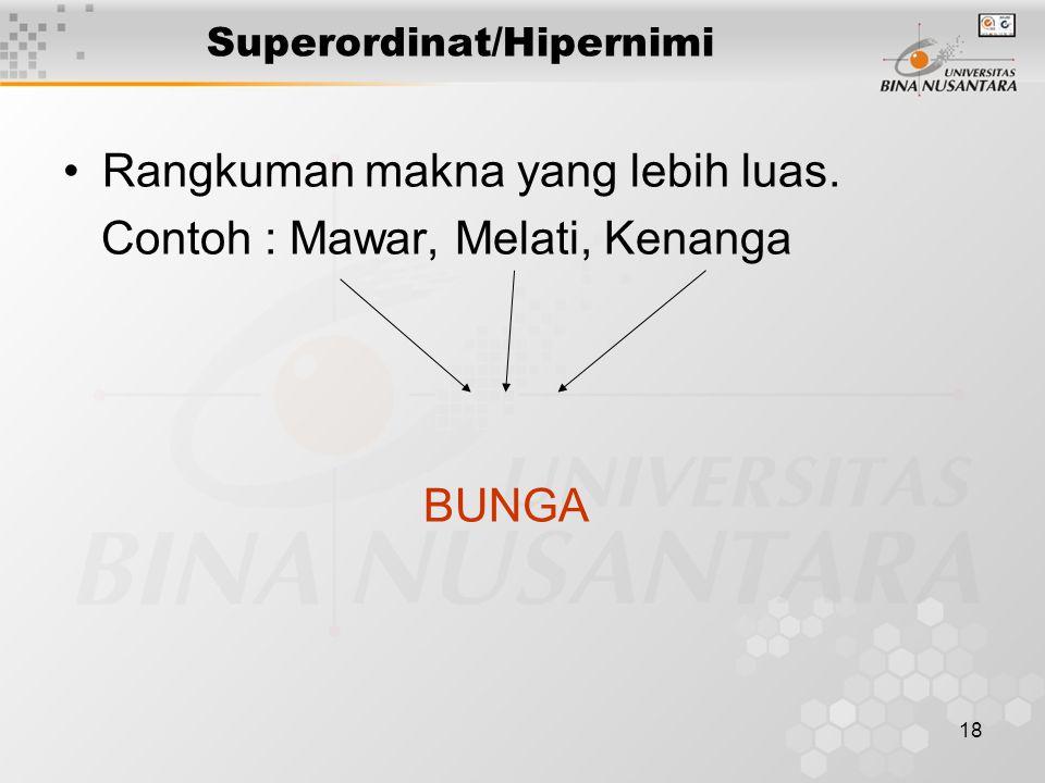 18 Superordinat/Hipernimi Rangkuman makna yang lebih luas. Contoh : Mawar, Melati, Kenanga BUNGA