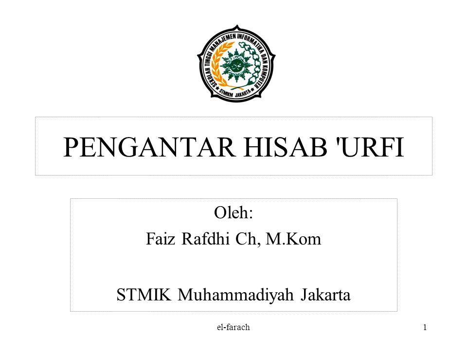 el-farach1 PENGANTAR HISAB URFI Oleh: Faiz Rafdhi Ch, M.Kom STMIK Muhammadiyah Jakarta