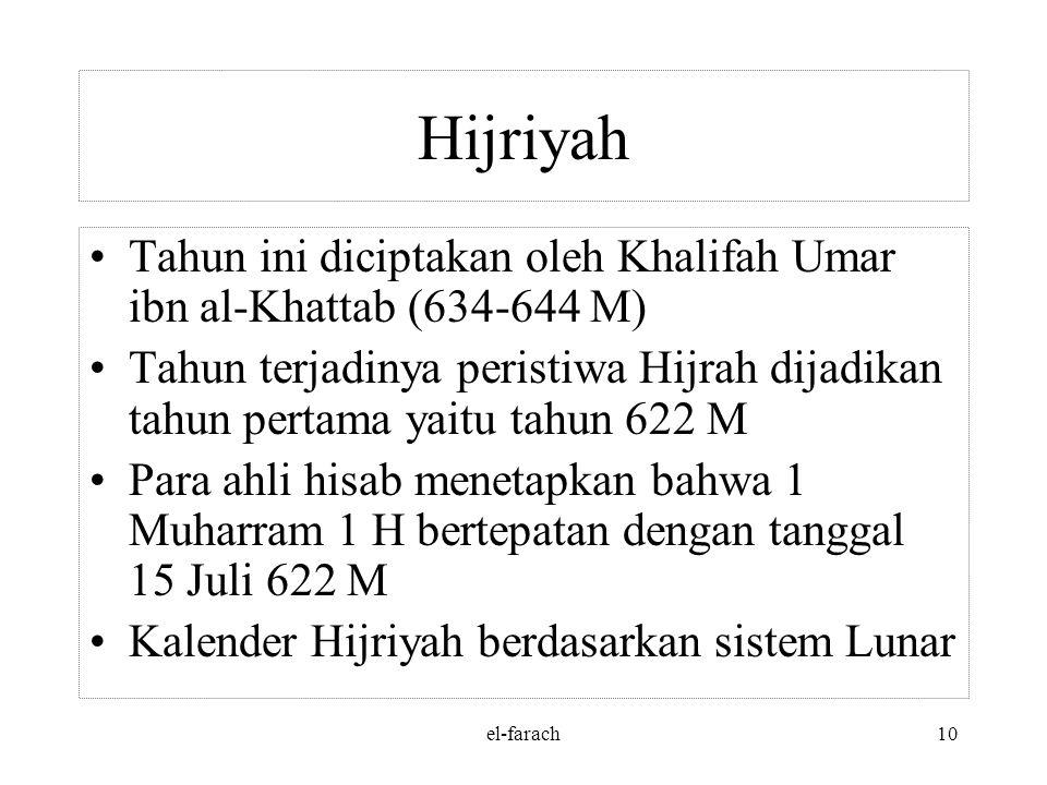 el-farach9 Masehi/ Miladiyah Menetapkan awal th baru dimulai tgl 1 Ianuarius Paus Gregrorius menyempurnakan kalender Julius dg memajukan tgl sistem Ju