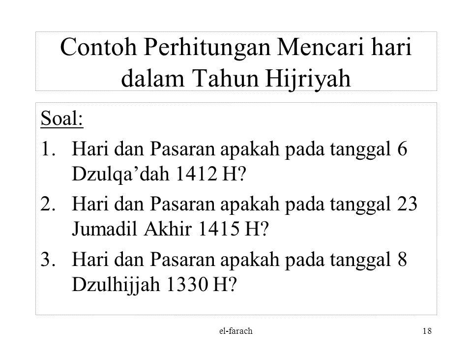 el-farach17 Jawab: 3. Tanggal 17 – 8 – 1945 = 1944 tahun + 7 bulan + 17 hari = 1944 : 4 = 486 daur + 0 thn + 7 bln + 17 hari = 486 daur = 486 x 1.461=