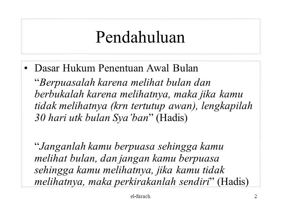 el-farach1 PENGANTAR HISAB 'URFI Oleh: Faiz Rafdhi Ch, M.Kom STMIK Muhammadiyah Jakarta
