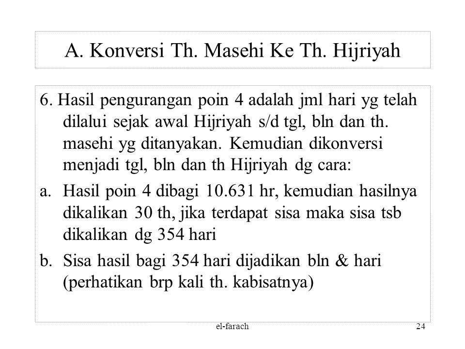 el-farach23 Menghitung Selisih hr th H & th M 5. Tanggal 1 Muharram 1 H = 15 Juli 622 M = 621 tahun + 6 bulan + 15 hari = 621 : 4 = 155 daur + 1 th +
