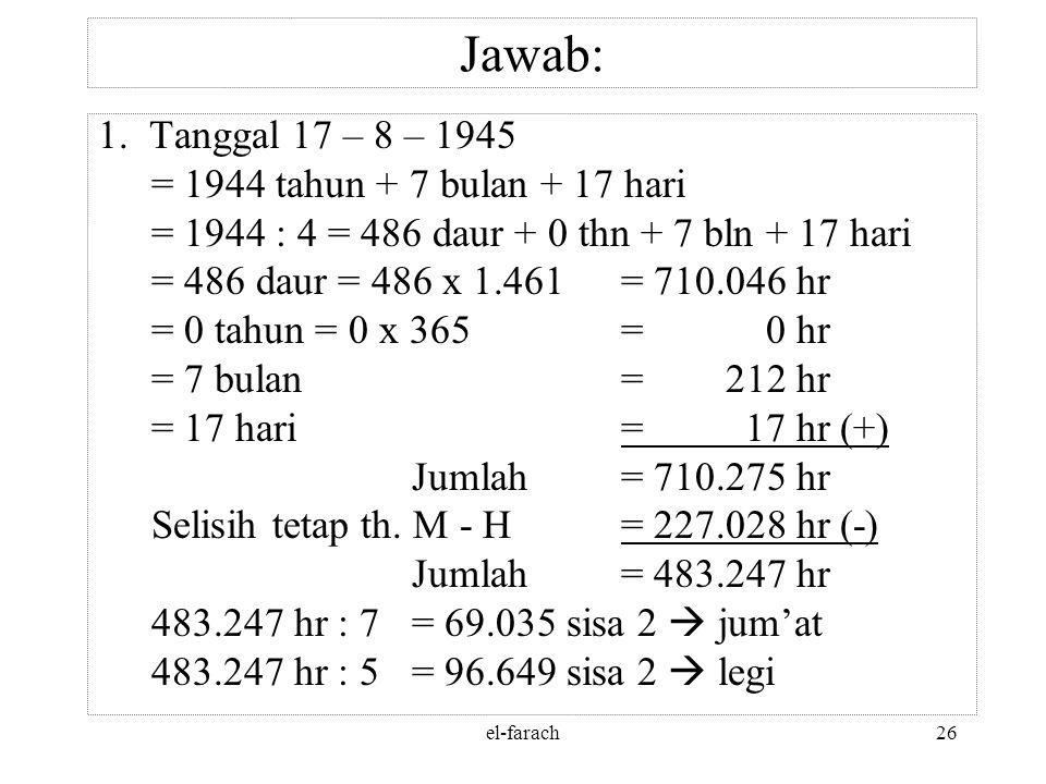 el-farach25 Soal: 1.Tgl 17 Agustus 1945 bertepatan dg tgl, bulan dan tahun hijriyah berapa? 2.Tgl 30 September 1965 bertepatan dg tgl, bulan dan tahun
