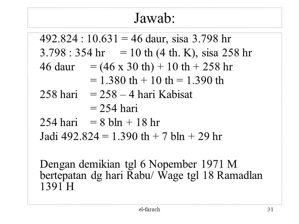 el-farach30 Jawab: 3. Tanggal 6 – 11 – 1971 = 1970 tahun + 10 bulan + 6 hari = 1970 : 4 = 492 daur + 2 thn + 10 bln + 6 hari = 492 daur = 491 x 1.461=