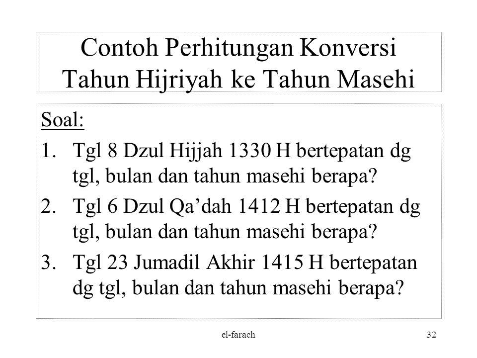 el-farach31 Jawab: 492.824 : 10.631 = 46 daur, sisa 3.798 hr 3.798 : 354 hr= 10 th (4 th. K), sisa 258 hr 46 daur= (46 x 30 th) + 10 th + 258 hr = 1.3