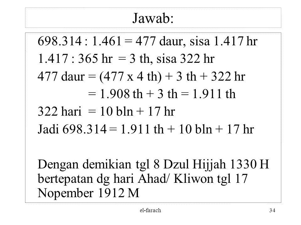 el-farach33 Jawab: 1. Tanggal 8 – 12 – 1330 = 1329 tahun + 11 bulan + 8 hari = 1329 : 30 = 44 daur + 9 thn + 11 bln + 8 hari = 44 daur = 44 x 10.631=