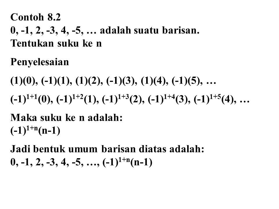 Contoh 8.2 0, -1, 2, -3, 4, -5, … adalah suatu barisan.