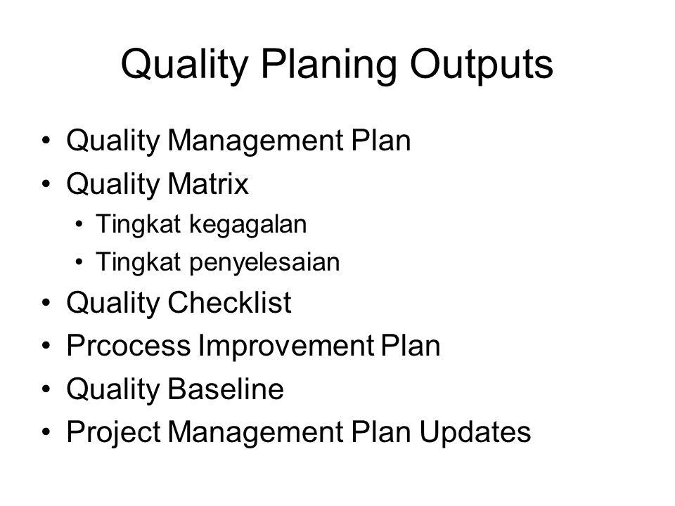 Quality Planing Outputs Quality Management Plan Quality Matrix Tingkat kegagalan Tingkat penyelesaian Quality Checklist Prcocess Improvement Plan Qual