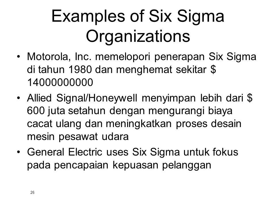 26 Examples of Six Sigma Organizations Motorola, Inc. memelopori penerapan Six Sigma di tahun 1980 dan menghemat sekitar $ 14000000000 Allied Signal/H