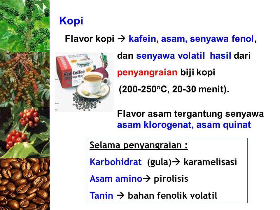 Kopi Selama penyangraian : Karbohidrat (gula)  karamelisasi Asam amino  pirolisis Tanin  bahan fenolik volatil Flavor kopi  kafein, asam, senyawa