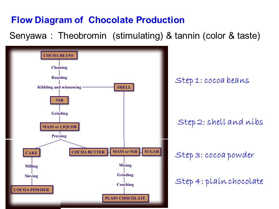 Flow Diagram of Chocolate Production Step 1: cocoa beans Step 2: shell and nibs Step 3: cocoa powder Step 4: plain chocolate Senyawa : Theobromin (stimulating) & tannin (color & taste)