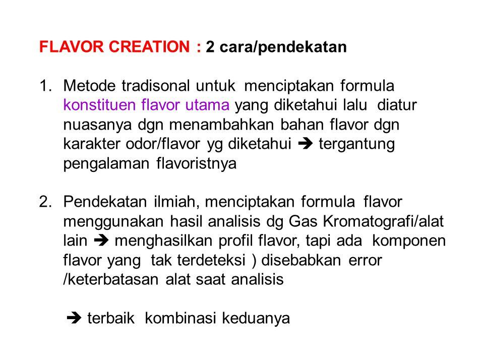 FLAVOR CREATION : 2 cara/pendekatan 1.Metode tradisonal untuk menciptakan formula konstituen flavor utama yang diketahui lalu diatur nuasanya dgn mena