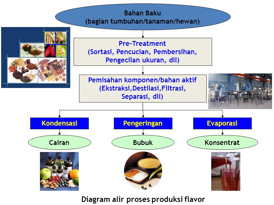 Bahan Baku (bagian tumbuhan/tanaman/hewan) Pre-Treatment (Sortasi, Pencucian, Pembersihan, Pengecilan ukuran, dll) Pemisahan komponen/bahan aktif (Eks