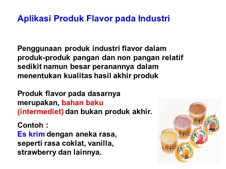 Aplikasi Produk Flavor pada Industri Penggunaan produk industri flavor dalam produk-produk pangan dan non pangan relatif sedikit namun besar perananny