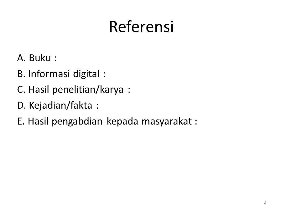 Referensi A.Buku : B. Informasi digital : C. Hasil penelitian/karya : D.